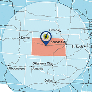 Sunflower Electric 500 Mile Radius Location Map